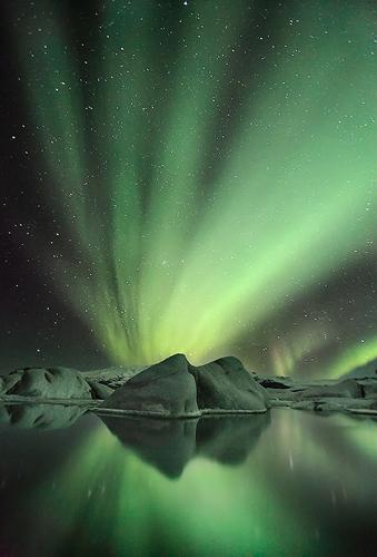 Glacier Aurora at Jökulsárlón, Iceland