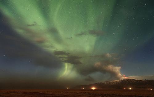 Volcanic Aurora over Eyjafjallajökull, Iceland