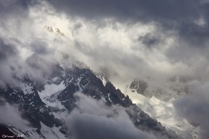 Aiguille du Chardonnet near Chamonix, France in Clouds