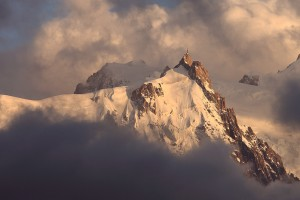 Aiguille du Midi near Chamonix, France in Clouds