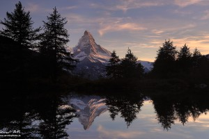 Matterhorn reflected in Grindjisee near Zermatt Switzerland