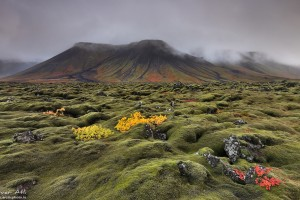 Cloudy Volcanic Mountains at Reykjanes
