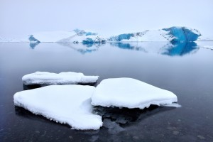 Snowy Jökulsárlón glacier lagoon, Iceland