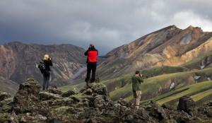 Alik, Martin and David shooting Landmannlaugar patterns from a vantage point.