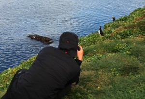 Martin photographing Puffins.
