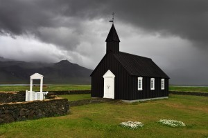 Búðir Church at Snæfellsnes just before a heavy rain shower.