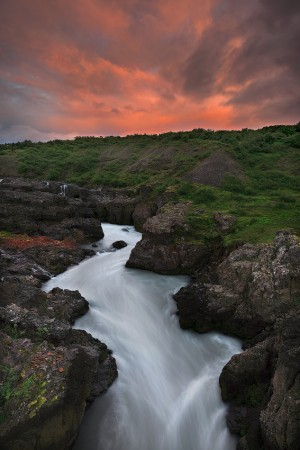Barnafossar waterfall at Sunset.