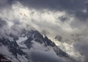 Aiguille du Chardonnet near Chamonix, France in Clouds