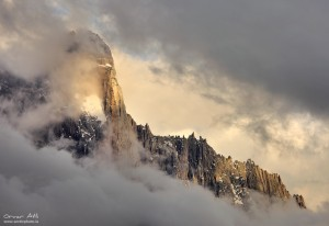 Aiguille du Dru near Chamonix, France in Clouds.