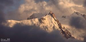 Aiguille du Midi near Chamonix, France in Clouds.