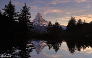 Matterhorn reflected in Grindjisee near Zermatt Switzerland.