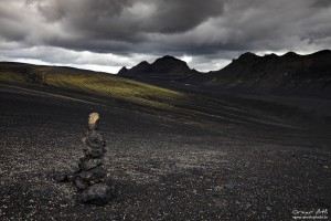 Dark clouds and dark landscape near Vallargjá.