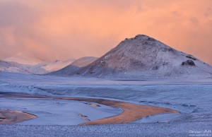 Soft light in Landmannalaugar in Winter.