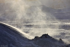 Drifting Snow, Landmannalaugar in Winter.