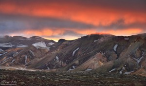 Bursting colors of sunset over Landmannalaugar.