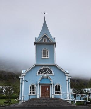 Church on a foggy day in Seyðisfjörður..