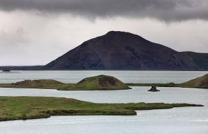 Vindbelgur seen from Höfði over Lake Mývatn.