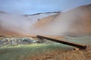 Bridge over a Geothermal River at Kerlingarfjöll Geothermal Area.