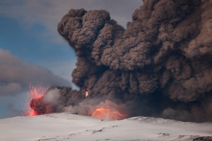 Charged particles from the Eyjafjallajökull volcano magma cause lighting activity.
