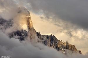 Aiguille du Dru near Chamonix, France in Clouds