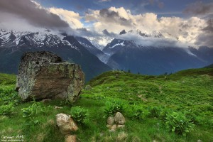The Mont Blanc massive near Chamonix, France
