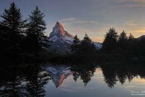 Matterhorn reflected in Grindjisee near Zermatt Switzerland