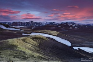 Sunset over Landmannalaugar area.