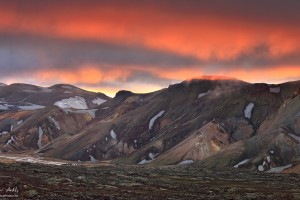 Bursting colors of sunset over Landmannalaugar.