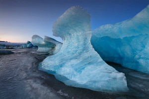 An Ice Formation resembling a wave on the frozen glacier lagoon.